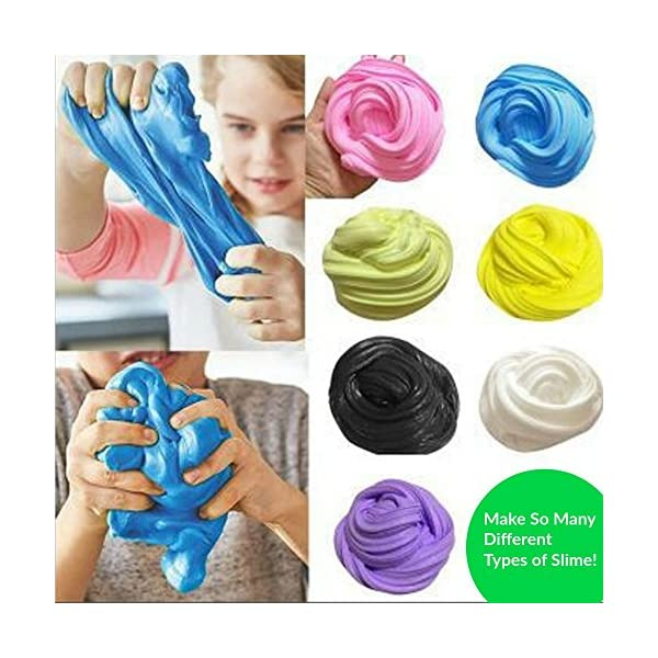 Make Your Own Slime! Kit W/ Containers & Lids, Clay, Foam Beads, Glue, Glitter Powders with Accessories! Recipes for Making Color and Different Types of Slime How to Make Slime Recipes Included 9