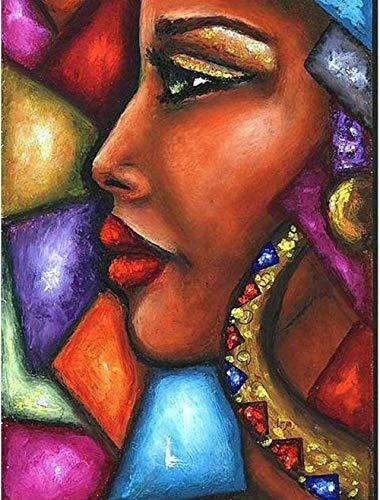 Diy Olieverfschilderij Schilderen Op Nummer Kits Voor Volwassenen Kinderen Beginners Senioren Met Borstels En Acrylkunstwerken, Kunst Gekleurd Glas Schilderij Vrouw, 16X20 Inch