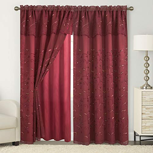 """Elegant Comfort Luxury Curtain/Window Panel Set with Attached Valance and Backing 54"""" X 84 inch (Set of 2), Burgundy"""