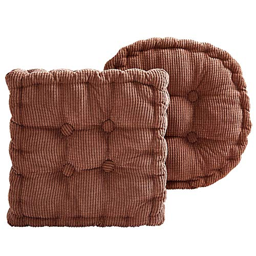 LOSFPVR Floor Pillow Thick Seat Cushion Soft Tatami Solid Color Chair Pad for Yoga Home Living Room Sofa Balcony Patio Garden Hanging Chair Dining Chairs Indoor/Outdoor (Camel, Round M: 18 in)