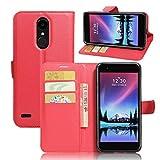 Guran® Custodia in Pu Pelle per LG K10 2017 Smartphone Avere Portafoglio e Funzione Stent Case Flip Cover Caso Copertura Protettiva-Rosso