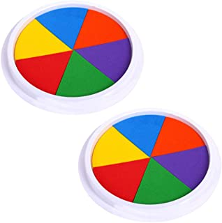 EORTA 2 Pack Craft Ink Pads Stamps Partner 6 Vivid DIY Colors in Round Box Finger Painting Pigment Ink Craft Stamp Pad for Stamps, Paper, Wood, Fabric, for Kid's Rubber Stamp, Scrapbooking Cards