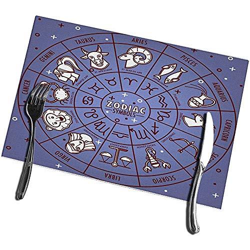 sunnee-shop eettafel, placemats, set van 4 sterrenbeelden, horoscooptekens met geboortegegevens op cirkel, wiel, planetten, sterrenkaartsymbolen
