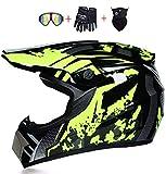 Helmet LWAJ Casco de Moto, Cascos de Motocross Set,Cascos Modulares Casco Moto Carcasa MúLtiples Orificios VentilacióN Bloqueo RáPido Forro ExtraíBle Enviar Gafas Guantes