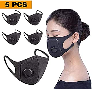 5 Pack Face Masks with Breathing – 100% Cotton, Washable, Reusable Cloth Masks – Protection from Dust, Pollen, Pet Dander, Other Airborne Irritants