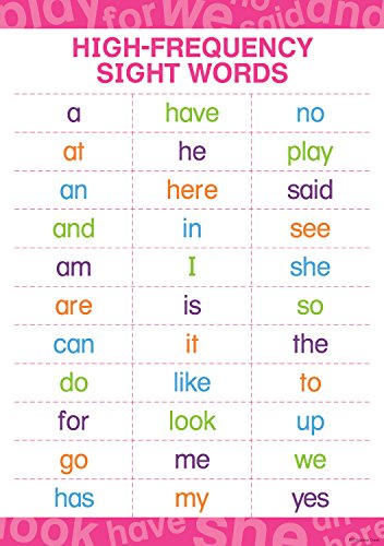 """Barker Creek Early Learning Poster, High-Frequency Sight Words, Illustrating 33 of The Most Commonly Used Sight Words in The English Language, Home Learning and School Décor, 13-3/8"""" x 19"""" (1845)"""
