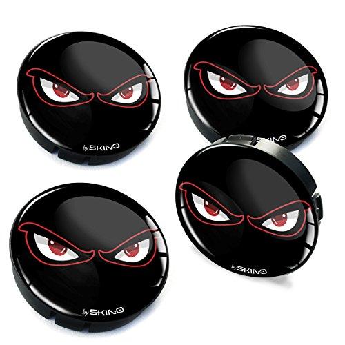 SkinoEu® 4 x 60mm Silikon Nabenkappen Kappen Augen No Fear Eyes Felgendeckel Radkappen Radnabendeckel Nabendeckel Auto Tuning C 40