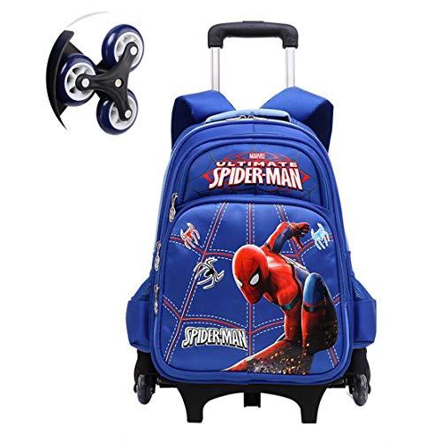 MODRYER Zaino della Ragazza del Bambino Ragazzi Supereroe Zaino dei Bambini su Ruote Zaino elementare Studenti Daypack Leggero per Campeggio Escursionismo,Blue-Spiderman