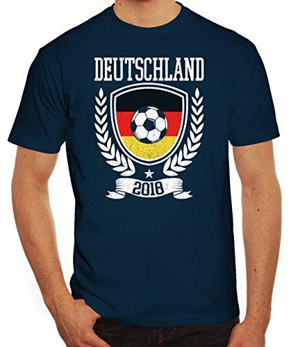 Germany Fußball WM Fanfest Gruppen Fan Herren Männer T-Shirt Rundhals Pokal Deutschland 2018, Größe: 3XL,Dunkelblau