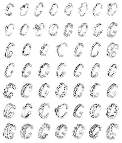 Milacolato 51pcs Zehenringe Damen Set Hypoallergene Verstellbare Blumenknoten Einfache Pfeil Finger Gelenk Schwanz Zehenring Set Frauen Fuß Geschenk Schmuck