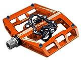 Funn Mamba Mountain Bike Clipless Pedal Set - Double Side Clip Wide Platform MTB Pedals, SPD Compatible, 9/16-inch CrMo Axle (Orange)