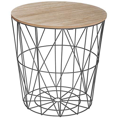 ATMOSPHERA Korbtisch Beistelltisch Kaffeetisch Metall Korb mit Holz Deckel 40 x 40 x 41 cm Schwarz