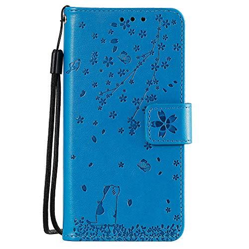 NEXCURIO Hülle Galaxy J3/J3 2016, Klapphülle Leder Flip Case Schutzhülle Tasche Cover mit Ständer Magnet Kartenfach für Samsung Galaxy J3 2016/J320F - NEHHA130192 Blau