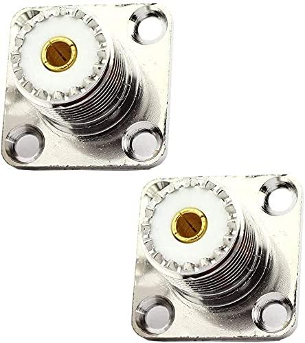 SYCEZHIJIA Piezas de Repuesto para cortacésped Reemplace UHF Mujer SO239 Jack Panel Chasis Mount Brida Solder Cup 4 Agujeros Conector Accesorios para cortacésped