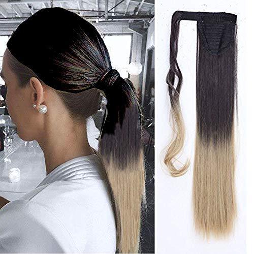 Pferdeschwanz Extensions Ponytail Haarteil Ombre Clip in Extensions wie Echthaar Zopf Glatt Kunsthaare günstig Haarverlängerung 23