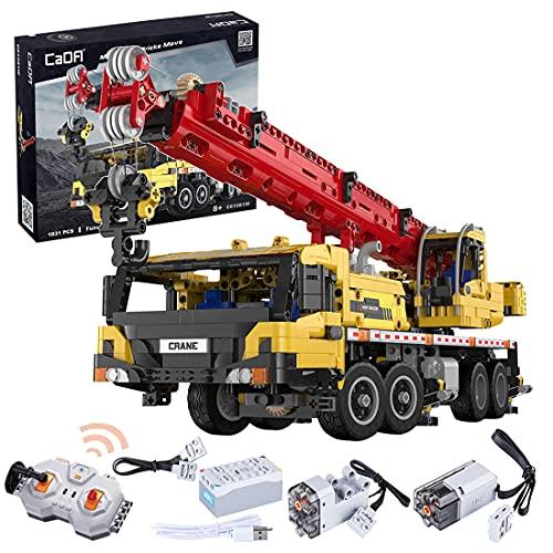 LYCH Grúa de ingeniería de control remoto para camión, CADA C61081W, 1183 bloques de sujeción, camión con mando a distancia y motor, tamaño grande, compatible con Lego Technic