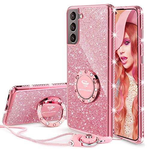 OCYCLONE Funda para Samsung Galaxy S21 (6.2 Pulgadas), Brillante Cover Case con Soporte para Anillos y Cordón para Niñas y Mujeres, Funda Protectora Galaxy S21- Oro Rosa