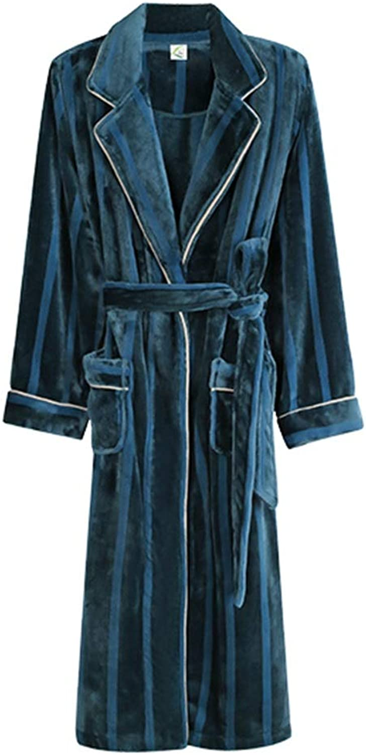 NAN Liang Winter Couple Nightgown, Ladies Sexy Thick Long Bathrobes, Men's Large Size Pajamas, All Cotton Warm Soft (color   Female Models Green, Size   XXL)