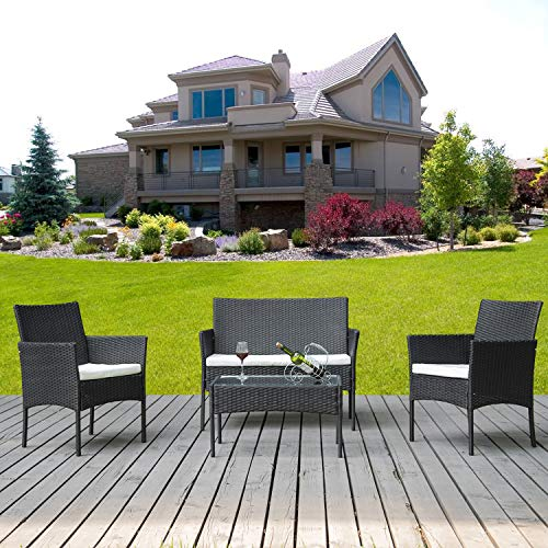 SIRUITON Rattan Furniture Set for Outdoor Garden or Indoor Conservatory, 4 Pcs Set Rattan Sofa Chairs, Rattan Table with Tempered Glass Table Top (Black)
