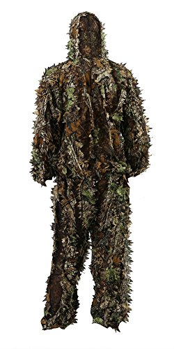"Zicac Outdoor Camo Ghillie Suit 3D Leafy Camouflage Clothing Jungle Woodland Hunting (Height Above 5'11"")"