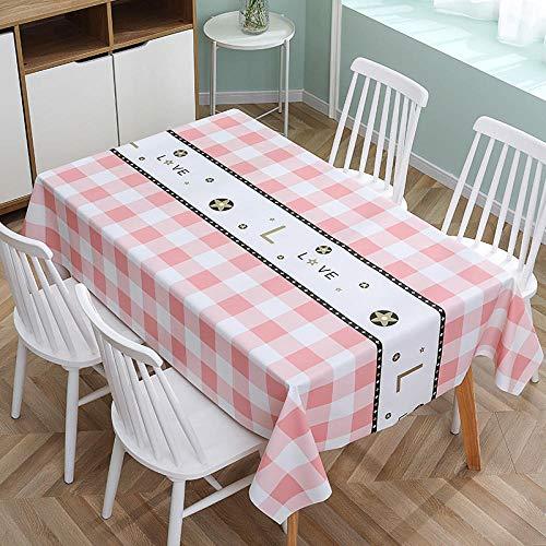 ZXCN Manteles Antimanchas Mantel Rectangular de Antimanchas Simple PVC Impermeable Vintage decoración Pink 110×160cm