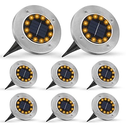 Solar Bodenleuchte für Garten, unibelin Solarleuchten Garten, Solar Gartenleuchte mit 12 LEDs, IP65 Wasserdicht Gartenleuchte Solar für Rasen/Auffahrt/Gehweg/Patio/Garten ( 8 Stück )