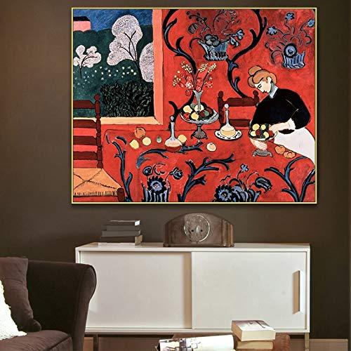 ganlanshu Rote Klassische Art Stillleben Leinwand Poster Kunst Wohnzimmer Dekoration Wanddekoration,Rahmenlose Malerei,50X60cm
