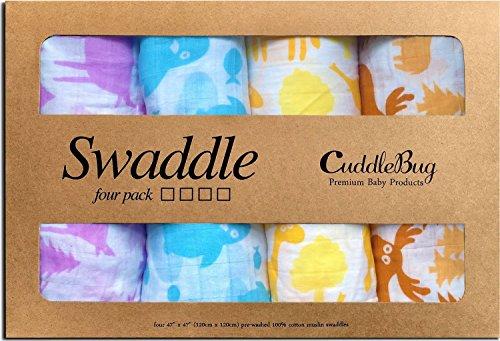 Mantas de Muselina Unisex CuddleBug - Paquete de 4 - Sabanas de Envolver, Sabanas Cuna Bebe, Paños de Algodon 100% Muselinas Infantil, Bebes - Tamaño Grande 120x120cm - Mantas Suaves de Lactancia Multiuso