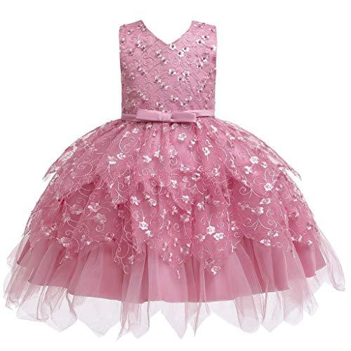 Riou Ballkleider Mädchen Prinzessin Kurz Mini Ärmellos Rüschen Glitzer Tüll Ballettkleid für Festlich Weihnachten Party Spitzen Kleider