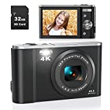 Digital Camera, Lecran 4K 44.0 Mega Pixels Vlogging Camera with 32GB SD Card, 16X Digital Zoom, LCD Screen, Compact Portable Mini Cameras for Adults, Seniors, Teens, Kids, Students(4K Black)