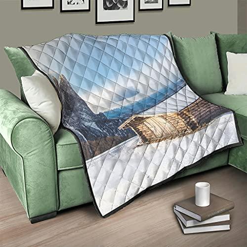 AXGM Colcha de invierno acolchada con diseño de montañas, cielo, nieve, manta de invierno, manta cálida para dormir, color blanco, 230 x 280 cm