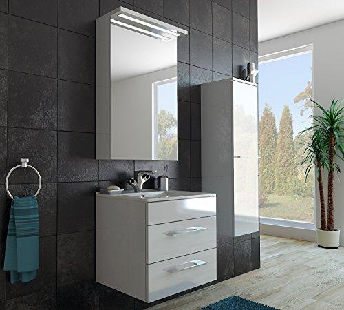 Design badkamermeubel hoge kast + spiegelkast + onderkast + wastafel 60 cm in de kleur wit glanzend/LED/Soft-Close/klaar voor montage/Made in Germany