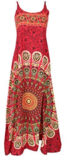 Guru-Shop Sommerkleid, Boho Maxikleid mit Schlitz, Damen, Rot/Mandala, Synthetisch, Size:38, Lange & Midi-Kleider Alternative Bekleidung