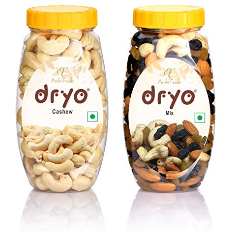 dryo Natural Combo Pack of Delicious Mix Dry Fruits 220 gm Mixture of Almonds, Black Raisin, Cashew, & Raisin and Cashew 220 gm...