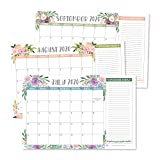 Floral 2020 Large Monthly Desk or Wall Calendar Planner, Big Giant Planning Blotter Pad, 18 Month Academic Desktop, Hanging 2-Year Date Notepad Teacher, Mom Family Home Business Office 11x17'