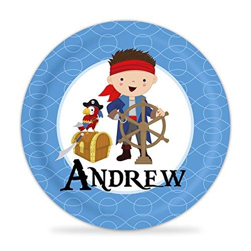 Pirate Plate - Blue Swirls Treasure Boy Pirate Melamine Personalized Name Gift