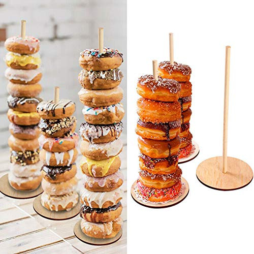 Astra Gourmet Wood Donut Stands  Set of 2 Donut Display Stands  Wedding Donut Bar Holder Dessert Bar Stand Wedding Decor