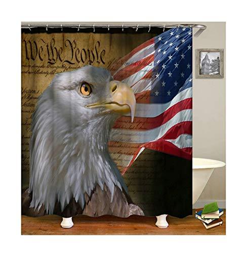 KnSam Anti-Schimmel Wasserdicht Duschvorhang Inkl. 12 Duschvorhangringen Amerikanische Flagge Und Adler Gardinen An Badewanne Bad Vorhang für Badezimmer 120 X 180 cm