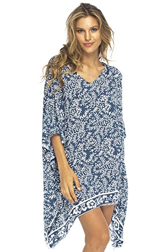 Back From Bali Womens Beach Swimsuit Cover Up Dress Caftan Floral Short Poncho Bun Navy