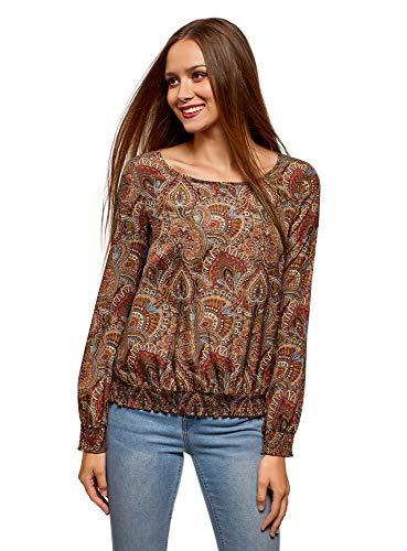oodji Collection Mujer Blusa Estampada con Cuello Redondo, Marrón, ES 36 / XS