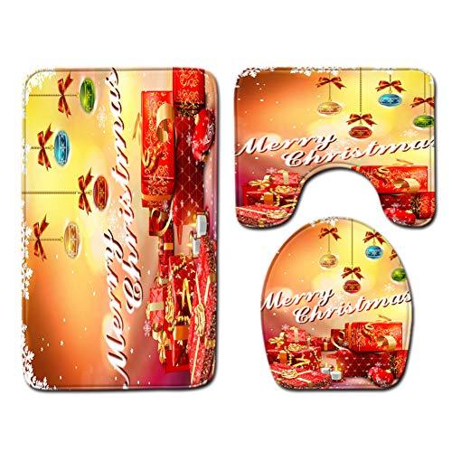 ZHENGXIANGA Kerst Toilet Driedelige Vloer Mat Deurmat Badkamer Tapijt Mat 45 * 75cm Q190804-a040