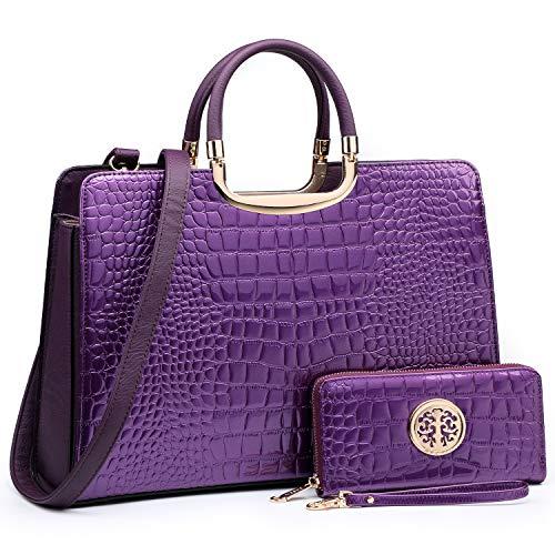 Women's Fashion Handbag Shoulder Bag Hinged Top Handle Tote Satchel Purse Work Bag with Matching Wallet (3-croco Purple Wallet Set)