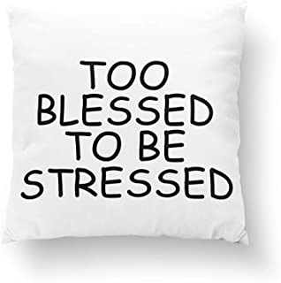 DreamsBig Too Blessed to be Stressed Pillows Home Decorative Throw Pillow Cushion Cases Cover Pillowcase One-Side 16x16