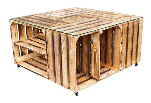 Tisch aus versch. geflammten Schuhkisten& Glasplatte 81x81x44cm