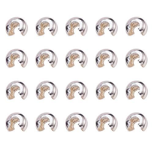 Kaschierperlen Messing Cover Beads für Quetschperlen, Silber Farbe, Größe: ca. 4 mm breit, Bohrung: 1.5~1.8 mm