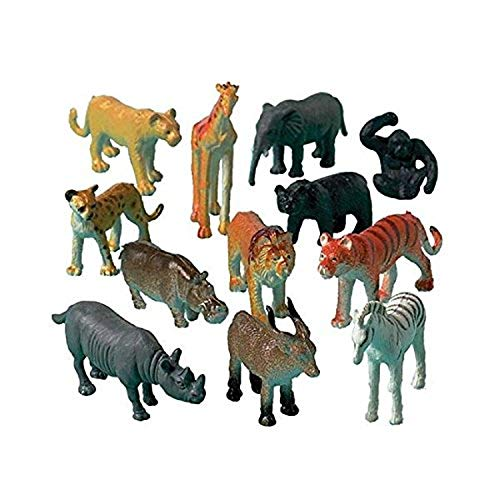 Wild Jungle Animal Toy Figures, Pack of 12 Ass