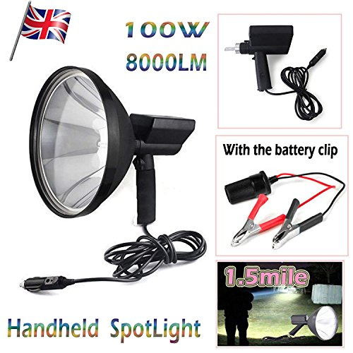Bowose New 100W HID Handheld Search Light Hunting Spot Light Lamp Camping Foxing Shooting Fishing Farming 8000Lm with Battery Conversion Clip