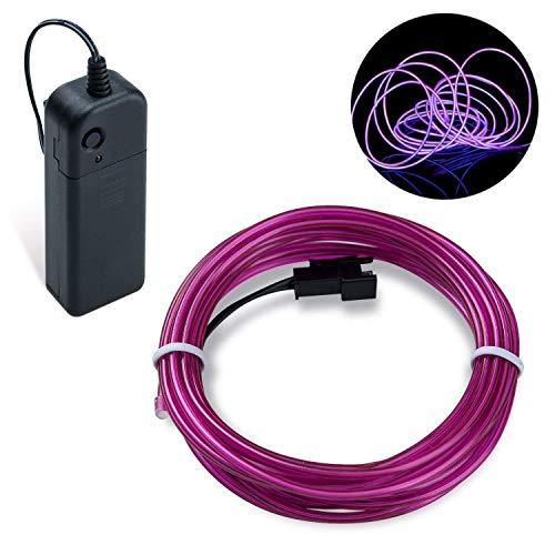 COVVY Wasserdicht Flexibel 3M 9 FT Neon Beleuchtung Lichtschlauch Leuchtschnur EL Kabel Wire mit 3 Modis für Disco Party Kinder Halloween Kostüm Kleidung Weihnachtsfeiern (Lila, 3M)