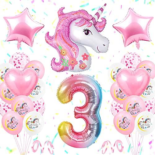 TOLOYE Unicornio Decoración de Cumpleaños 3 Años, Globo de Unicornio 3D con Pancarta de Cumpleaños Numero 3 Cumpleaños Globos Latex Globos para Decoracion de Fiesta de Cumpleaños Niña