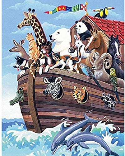 VGFTP 1000 stukjes houten puzzel, puzzel, zeer uitdagende volwassen en tiener casual puzzel - Noah's Ark Cartoon Anime